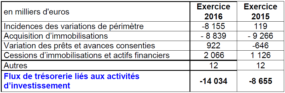 Flux de trésorerie_Investissements 2016