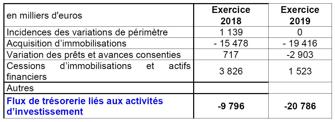 Flux de trésorerie_Investissements 2019